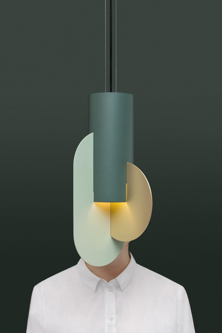 Set of Three Contemporary Pendant Lamps Suprematic CS5 by NOOM in Brass & Steel For Sale 1