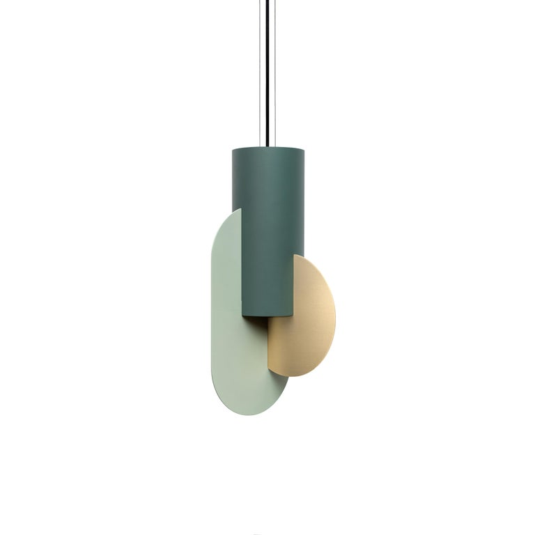 Set of Three Contemporary Pendant Lamps Suprematic CS5 by NOOM in Brass & Steel For Sale 2