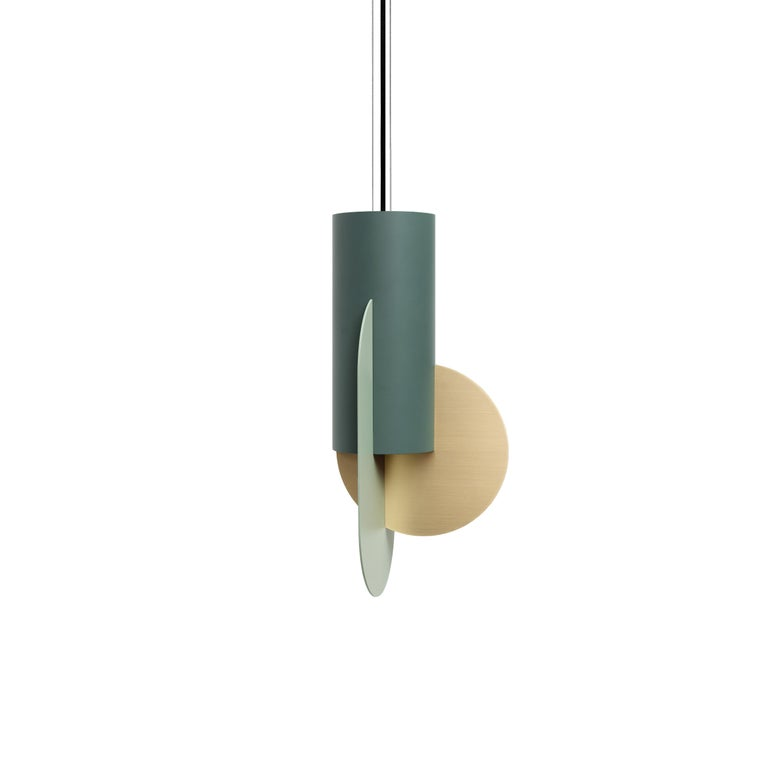 Set of Three Contemporary Pendant Lamps Suprematic CS5 by NOOM in Brass & Steel For Sale 3