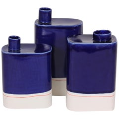 Set of Three Contemporary Porcelain Vases, Jerri