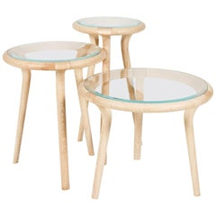 Set of Three Contemporary Side Tables in Ash, Oak or Walnut by Edward Johnson