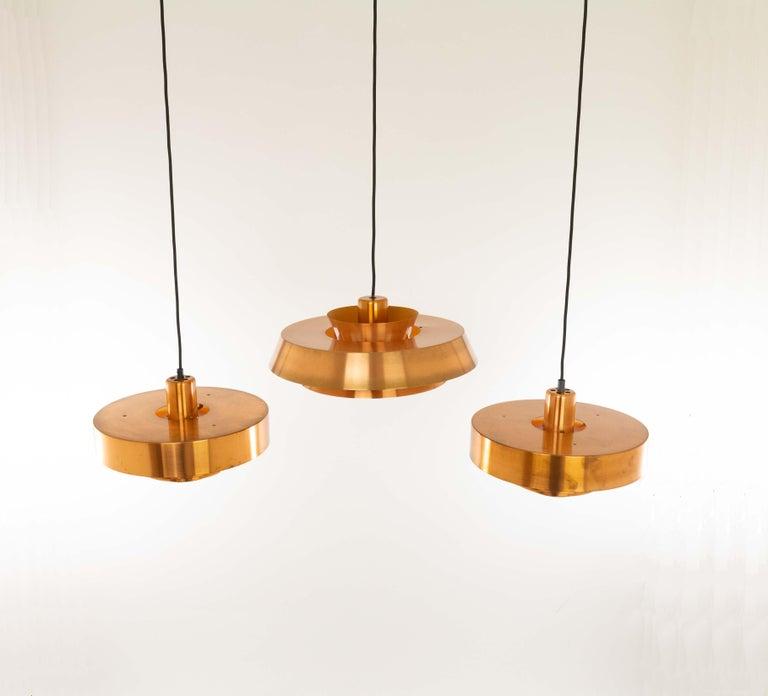 Set of Three Copper Pendants by Jo Hammerborg for Fog & Mørup, 1960s For Sale 4