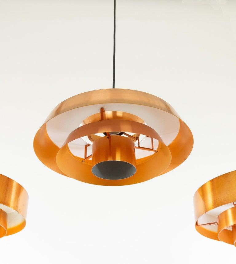 Set of Three Copper Pendants by Jo Hammerborg for Fog & Mørup, 1960s For Sale 7
