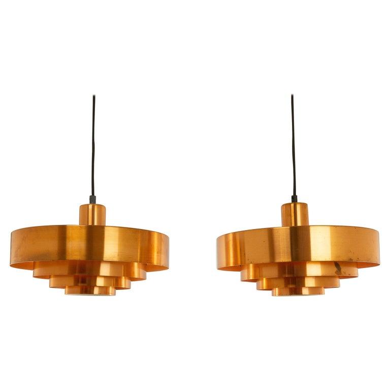 Mid-Century Modern Set of Three Copper Pendants by Jo Hammerborg for Fog & Mørup, 1960s For Sale