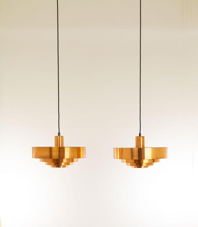 Danish Set of Three Copper Pendants by Jo Hammerborg for Fog & Mørup, 1960s For Sale