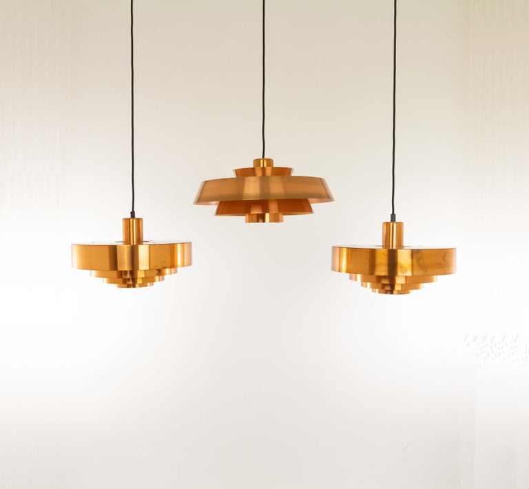 Set of Three Copper Pendants by Jo Hammerborg for Fog & Mørup, 1960s In Good Condition For Sale In Rotterdam, NL