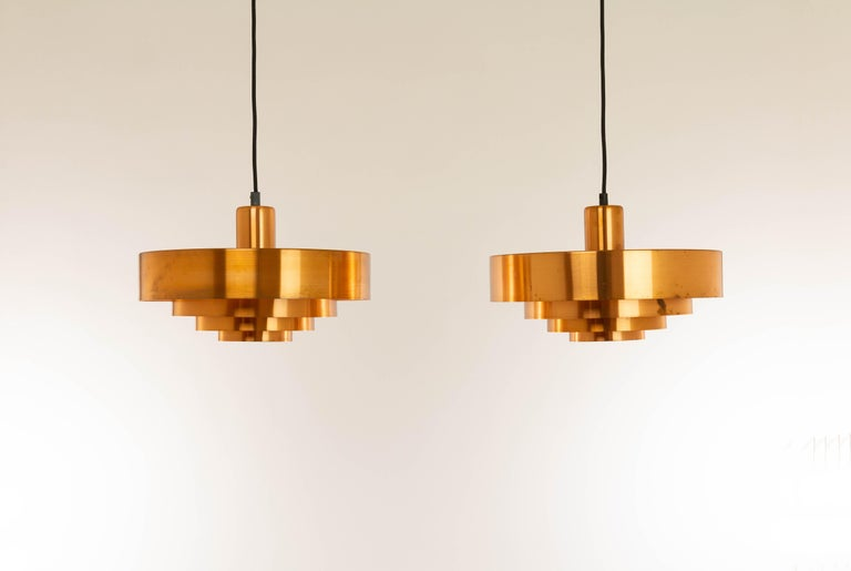 Mid-20th Century Set of Three Copper Pendants by Jo Hammerborg for Fog & Mørup, 1960s For Sale