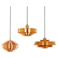 Set of Three Copper Pendants by Jo Hammerborg for Fog & Mørup, 1960s