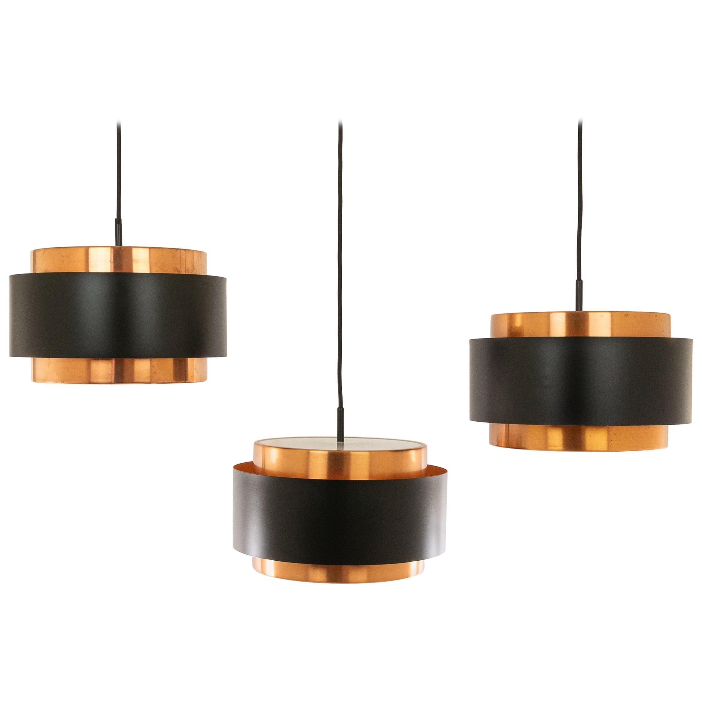 Set of Three Copper 'Saturn' Pendants by Jo Hammerborg for Fog & Mørup, 1960s
