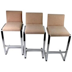 Set of Three Counter Stools by Breuton