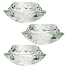 Set of Three Crystal Glass Votive Candleholders by Royal Copenhagen