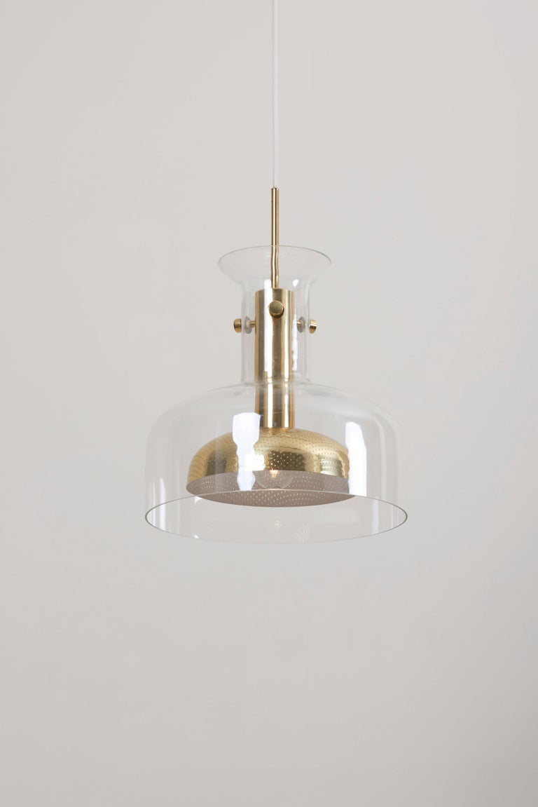 Mid-Century Modern One of six Crystal Pendant by Anders Pehrson for Atelje Lyktan For Sale