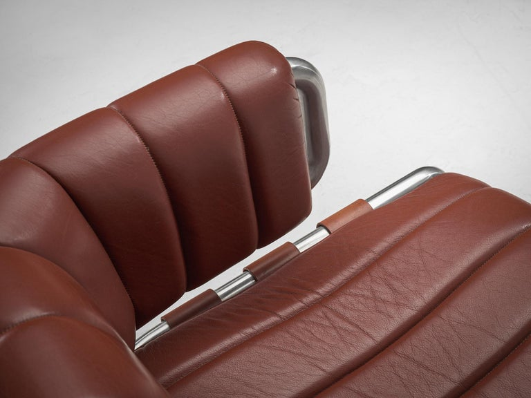 Set of Three Cubist Tubular Lounge Chairs in Red Leather For Sale 4