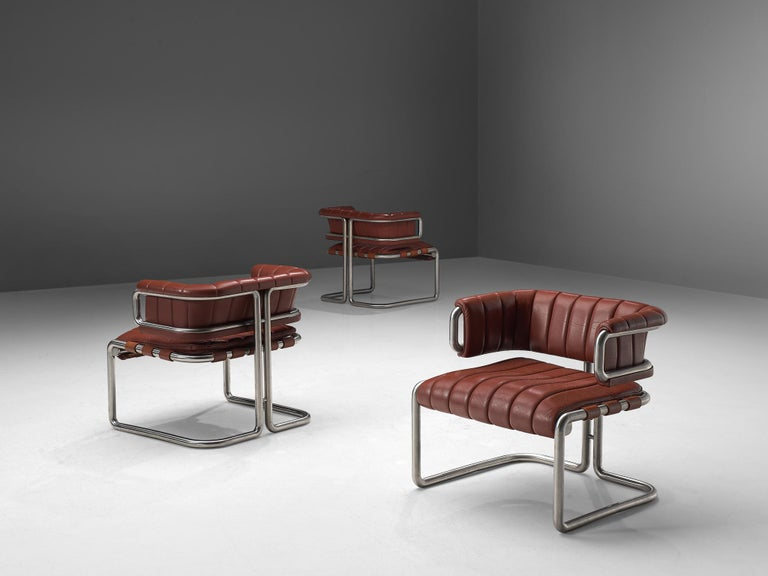 Mid-Century Modern Set of Three Cubist Tubular Lounge Chairs in Red Leather For Sale