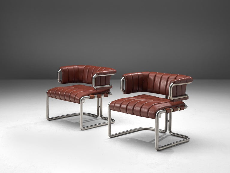 German Set of Three Cubist Tubular Lounge Chairs in Red Leather For Sale