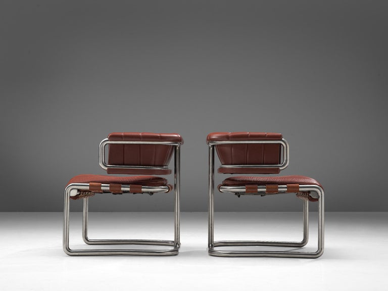 Mid-20th Century Set of Three Cubist Tubular Lounge Chairs in Red Leather For Sale