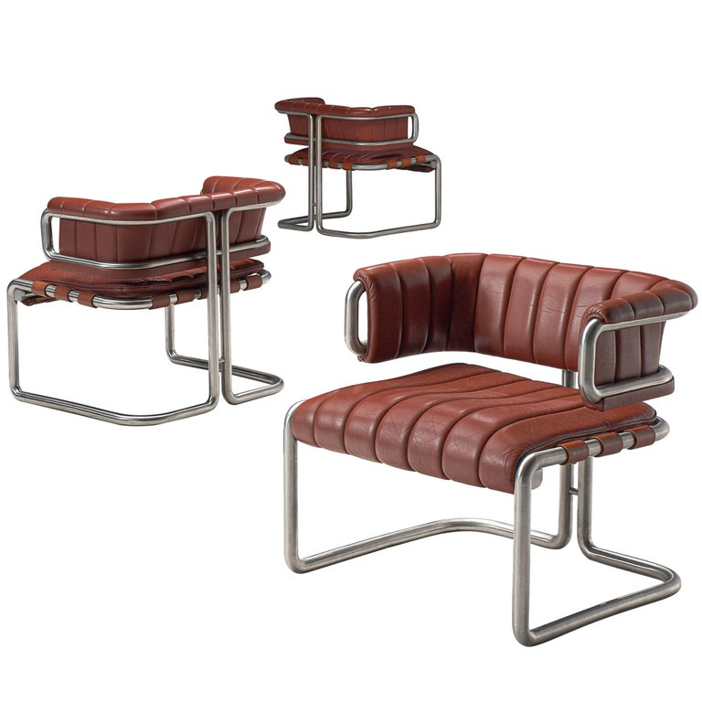 Set of Three Cubist Tubular Lounge Chairs in Red Leather For Sale