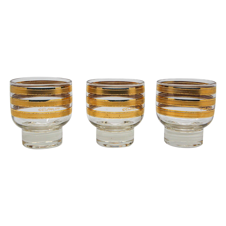 Set of Three Vintage Culver Footed Rocks Glasses with 22-Karat Gold Design