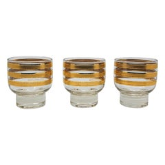 Set of Three Vintage Culver Footed Rocks Glasses with 22-Karat Gold Design