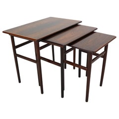 Set of Three Danish Midcentury Rosewood Nesting Tables, 1960s