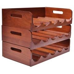 Set of Three Danish Modern Modular Teak Wine Racks by Kalmar