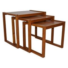 Set of Three Danish Modern Teak Nesting Tables by Vi-Ma Mobler