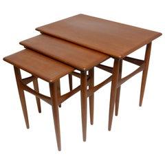 Set of Three Danish Modern Teak Wood Nesting Tables