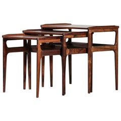 Set of Three Danish Nesting Tables in Rosewood Scandinavian Design Coffee Tables