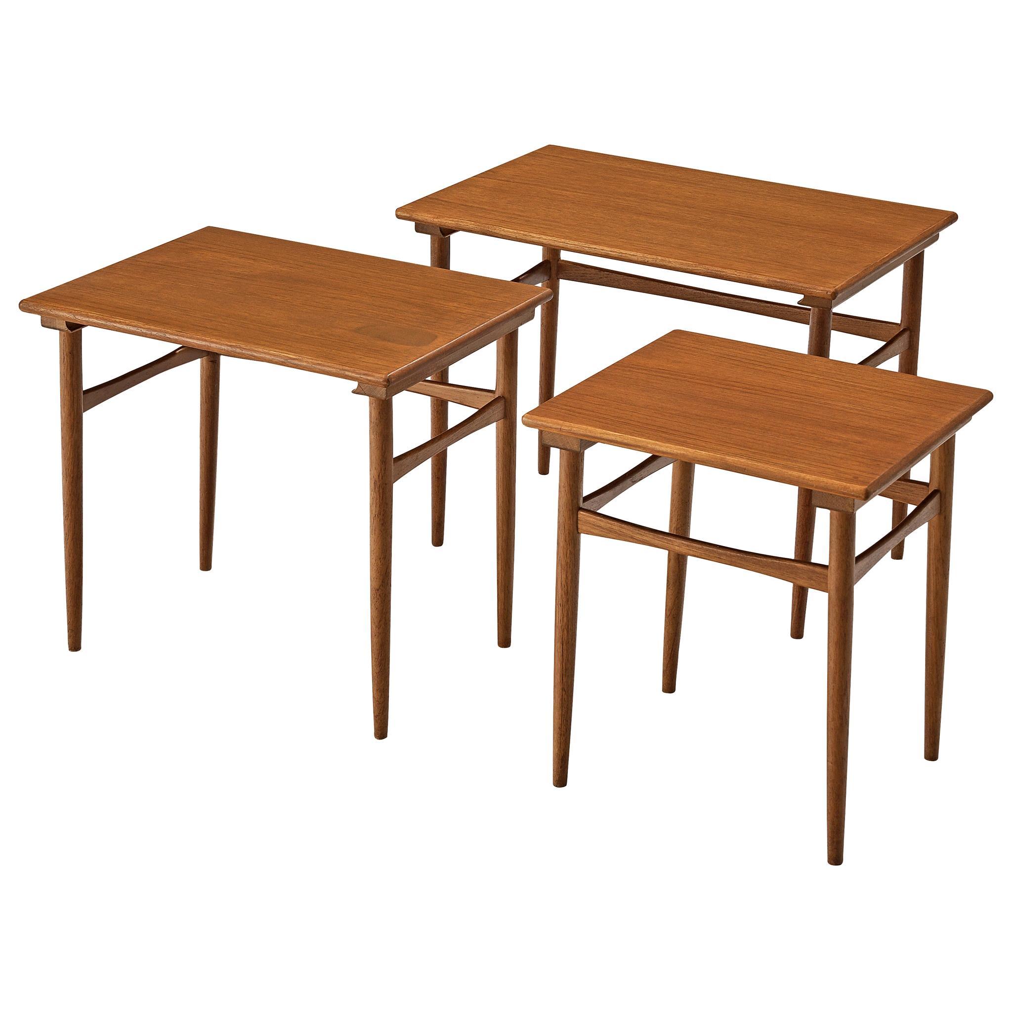 Set of Three Danish Nesting Tables in Teak