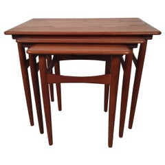 Set of Three Danish Teak Nesting Tables