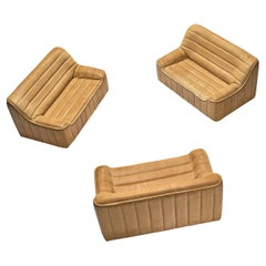 Set of Three De Sede 'DS84' Settees in Naturel Buffalo Leather