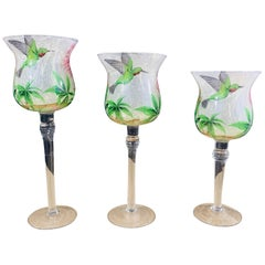 Set of Three Decorative Glasses with Hummingbird and Floral Motif