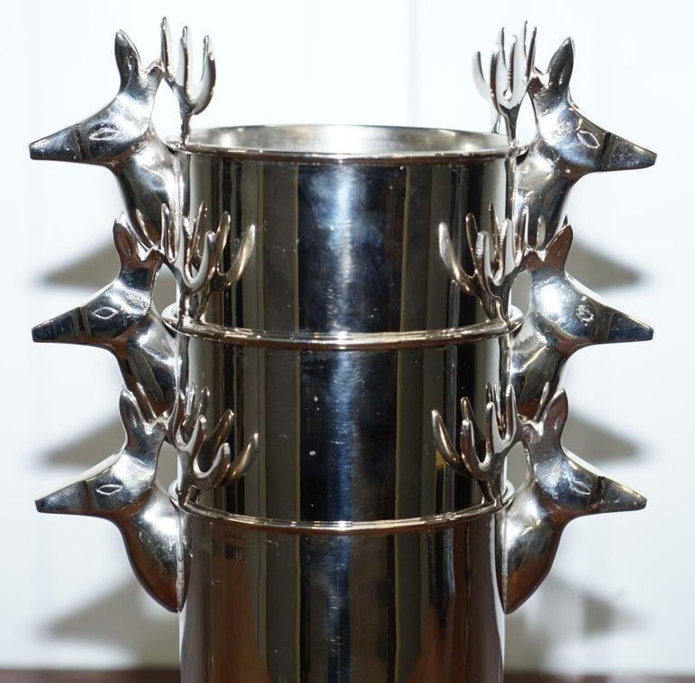 Set of Three Deer Head Reindeer Wine Campaign Buckets Coolers Servers Nice Find For Sale 2
