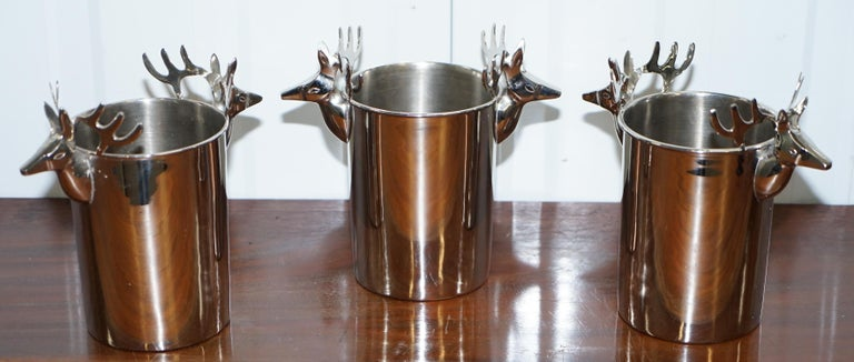 We are delighted to offer for sale this very nicely cast silver plated set of three wine Champaign buckets   A good looking and decorative set that add a sense of occasion to the serving of your favourite plonk  As you can see I also have a