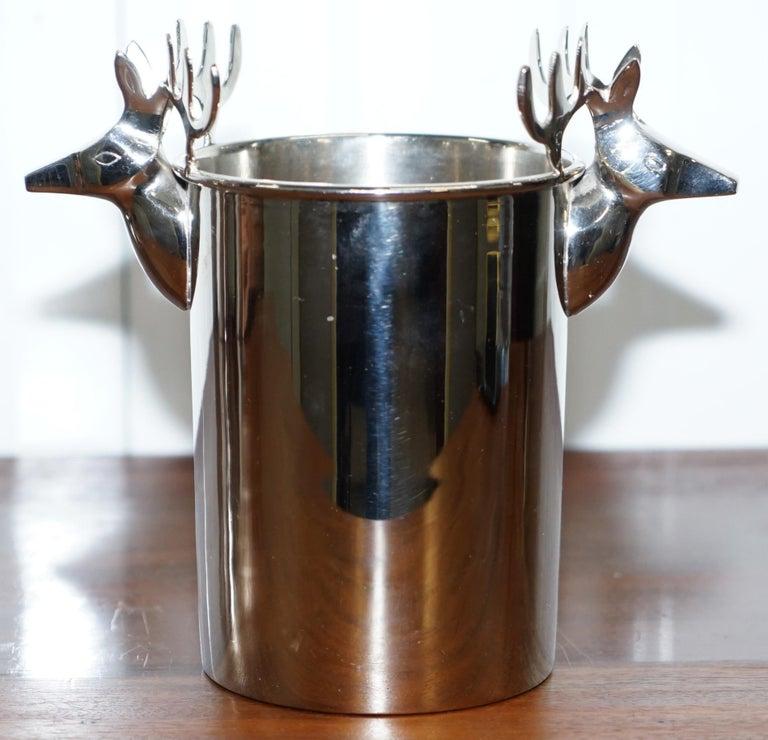 Modern Set of Three Deer Head Reindeer Wine Campaign Buckets Coolers Servers Nice Find For Sale