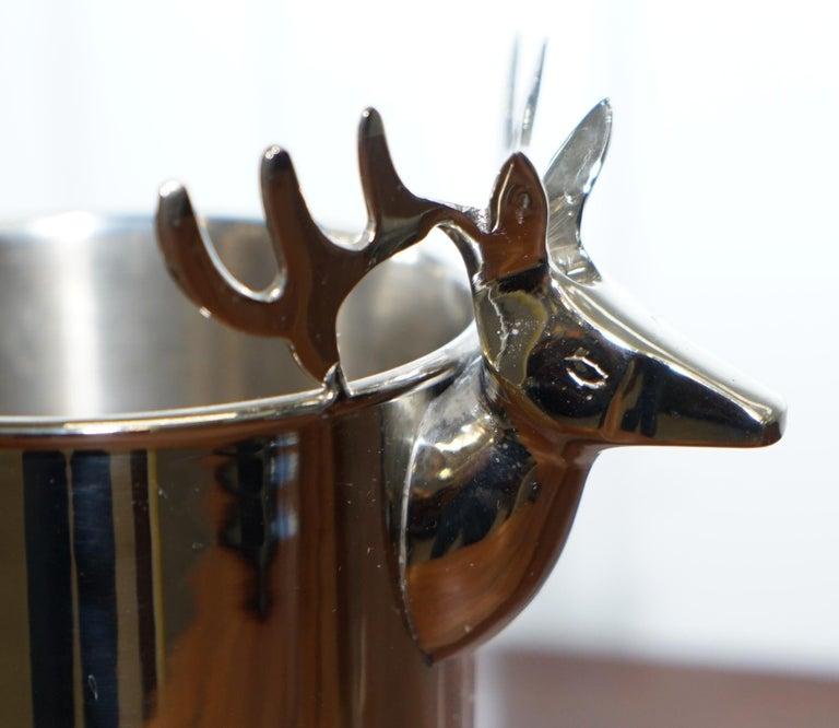 English Set of Three Deer Head Reindeer Wine Campaign Buckets Coolers Servers Nice Find For Sale