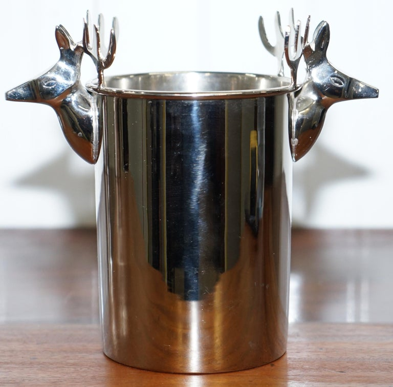 Set of Three Deer Head Reindeer Wine Campaign Buckets Coolers Servers Nice Find In Excellent Condition For Sale In London, GB