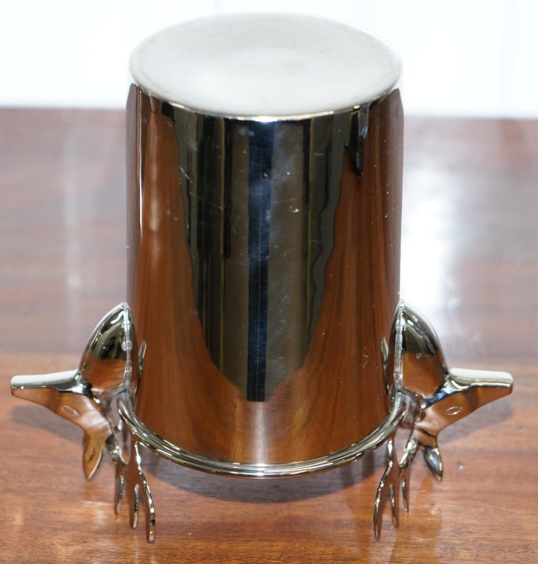 Contemporary Set of Three Deer Head Reindeer Wine Campaign Buckets Coolers Servers Nice Find For Sale