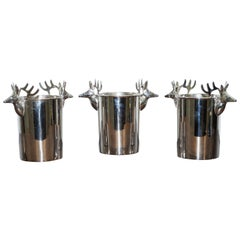 Set of Three Deer Head Reindeer Wine Campaign Buckets Coolers Servers Nice Find
