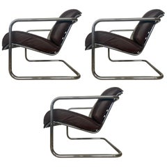Set of Three Design Chrome Armchairs in Style of M.van der Rohe, 1940s