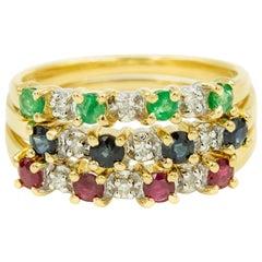 Set of Three Diamond Emerald Ruby Sapphire Stacking Band Rings