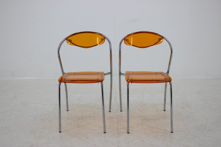 Mid-Century Modern Set of Three Dining Chairs, 1980s For Sale