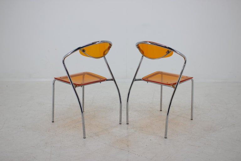 Metal Set of Three Dining Chairs, 1980s For Sale
