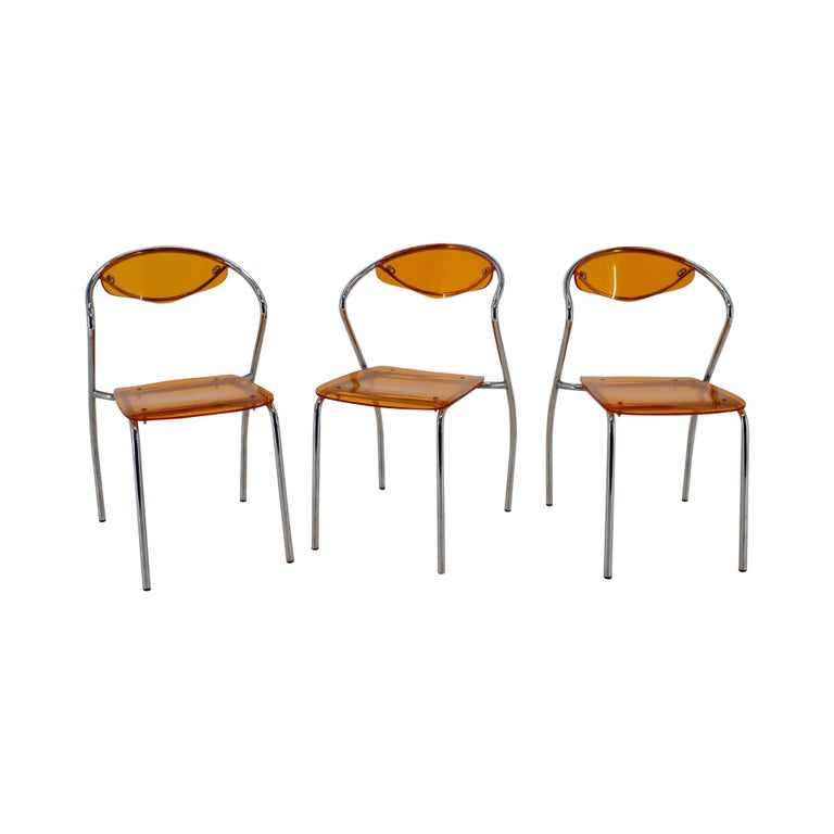 Set of Three Dining Chairs, 1980s For Sale