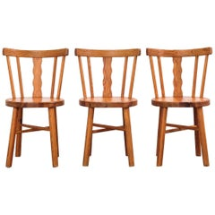 Set of Three Dining Chairs in Pine, Sweden