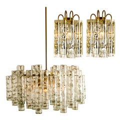 Set of Three Doria Brass Light Fixtures Two Wall Lights and One Chandelier, 1960