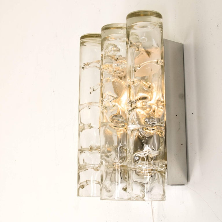 Set of Three Doria Light Fixtures Glass and Chrome For Sale 3