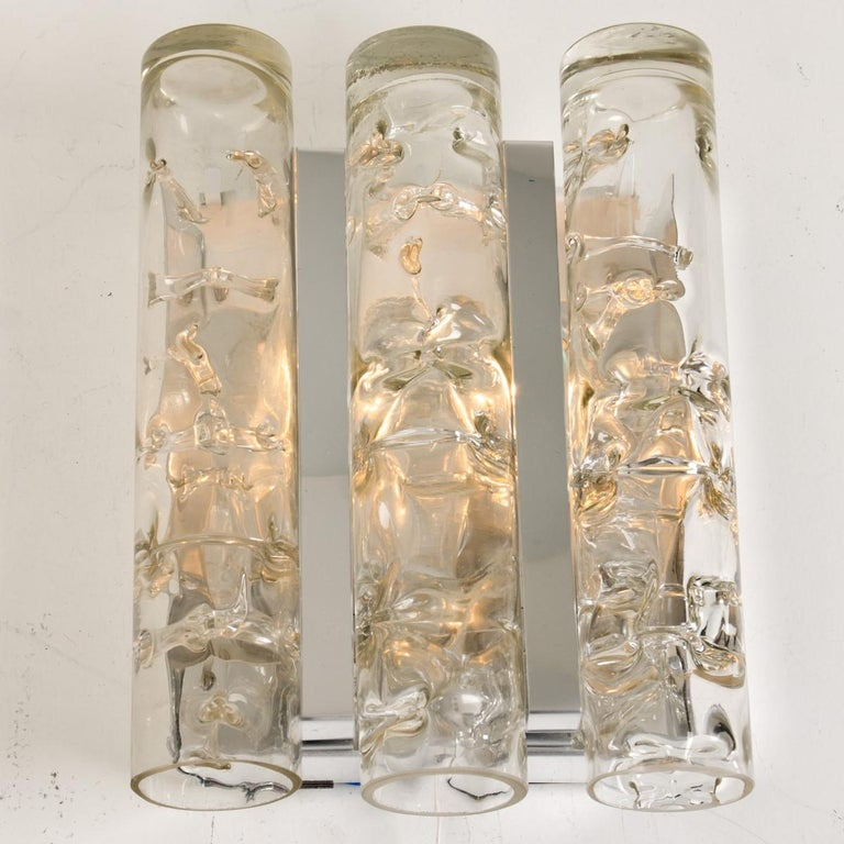 Set of Three Doria Light Fixtures Glass and Chrome For Sale 9