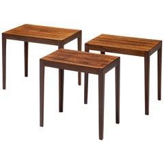 Set of Three Dutch Rosewood Nesting Tables