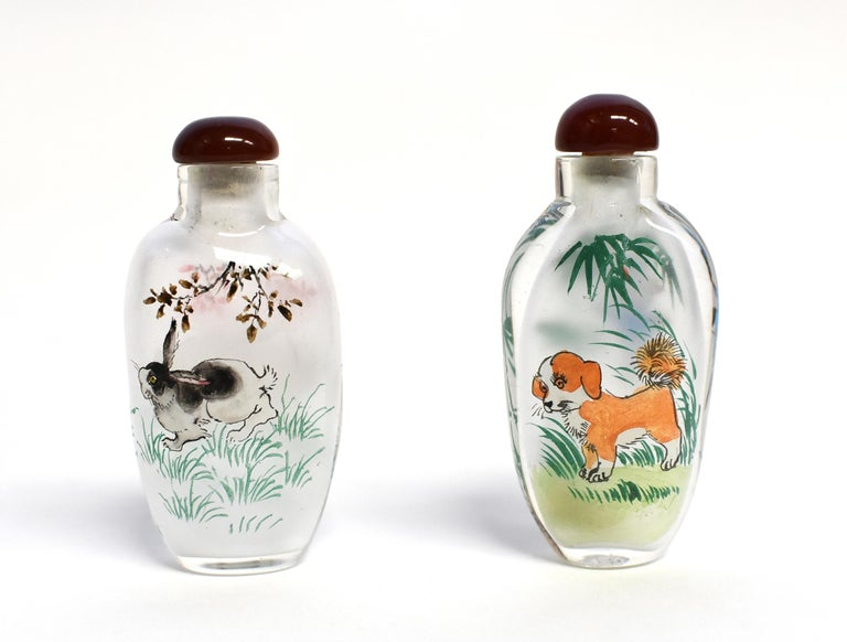 Set of Three Eglomise Reverse Painted Snuff Bottles with Zodiac Animals For Sale 6